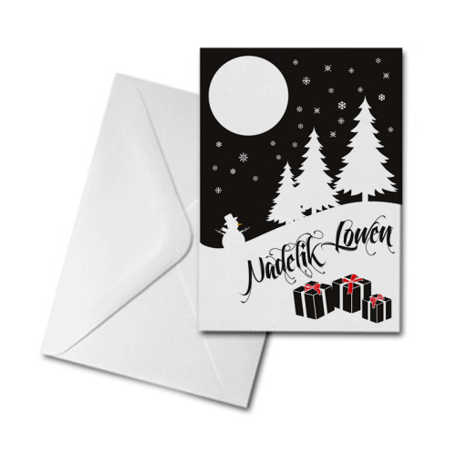 Christmas Card - Trees, Snowman & Gifts - Nadelik Lowen