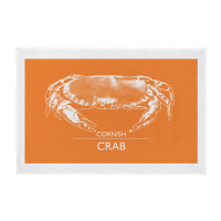 Cornwall Crab Screen Printed Tea Towel - Orange
