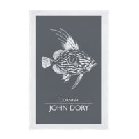 Cornwall John Dory Screen Printed Tea Towel - Dark Grey