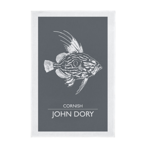 Cornwall Tea Towel - Cornish John Dory - Grey