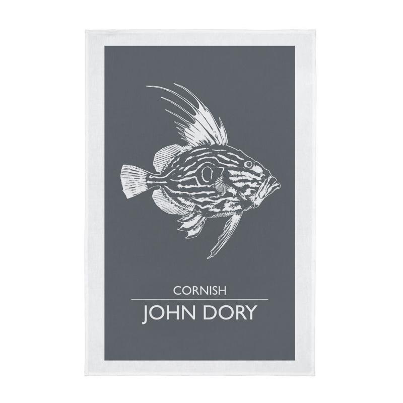 Cornwall Tea Towel - Cornish John Dory - Grey