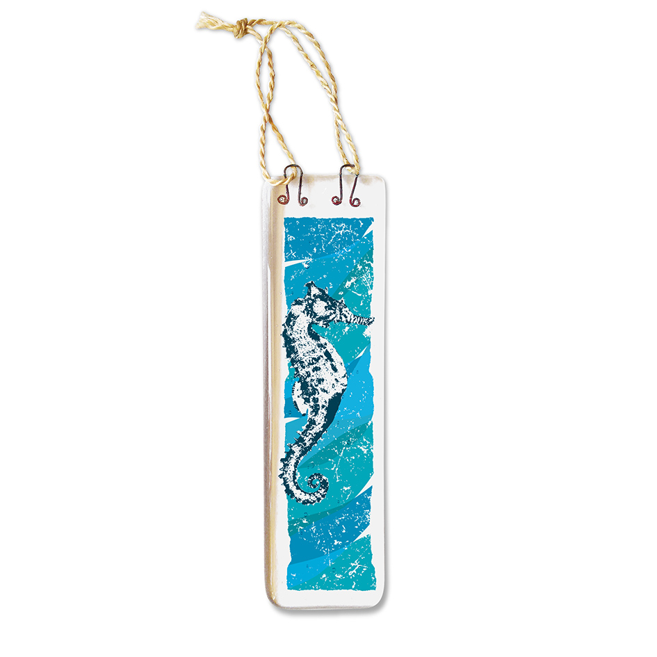 Handmade Fused Glass Hanging - Seahorse (Long)