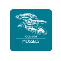Melamine Cornish Mussels Coaster - Deep Turquoise