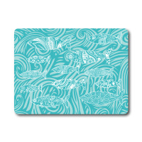 Turquoise Blue Shoal of Fish Glass Surface Protector - Worktop Saver