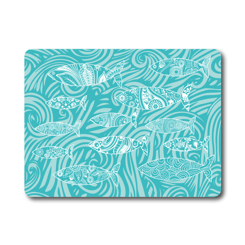 Textured Glass Surface Protector - Blue Fish
