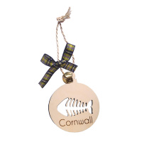 Wooden Hanging - Cornwall Fishbone Bauble