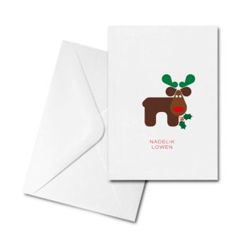 Christmas Card - Graphic Reindeer - Nadelik Lowen