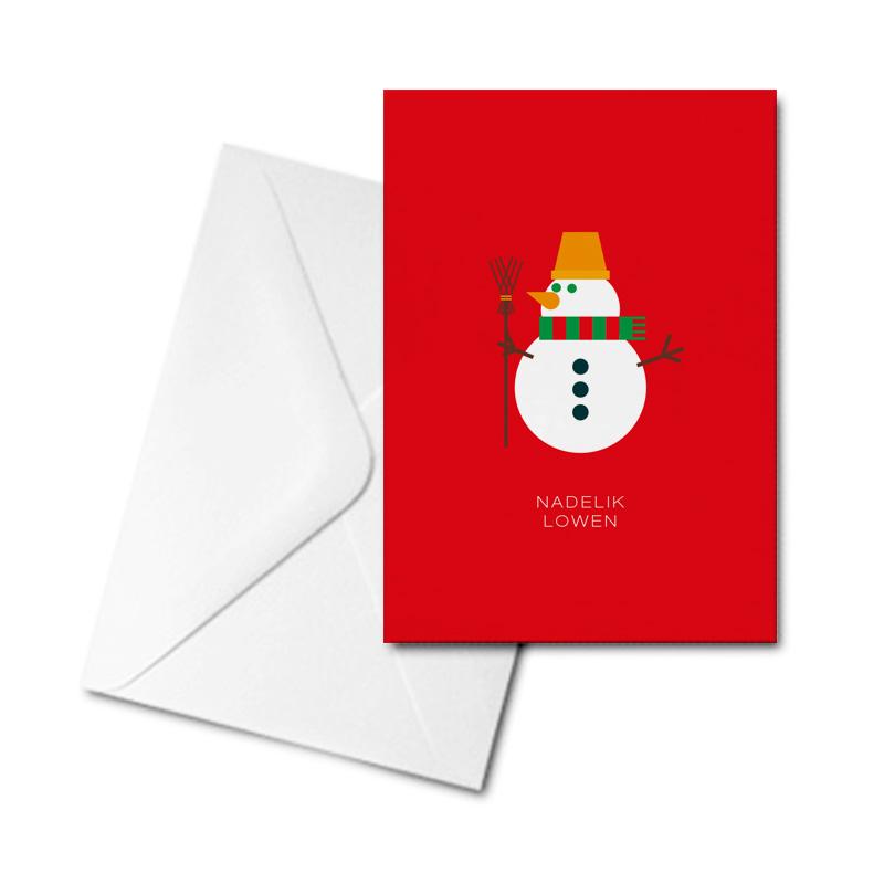 Christmas Card - Graphic Snowman - Nadelik Lowen