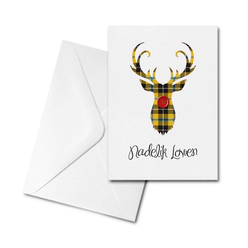Christmas Card - Nadelik Lowen - Cornish Tartan Reindeer