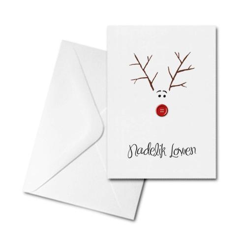 Christmas Card - Nadelik Lowen - Twig Reindeer