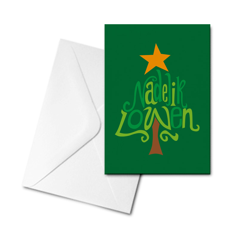 Christmas Card - Nadelik Lowen Green Tree