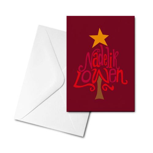 Christmas Card - Nadelik Lowen Red Tree