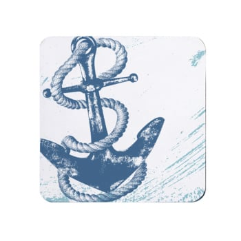 Blue and White Anchor Coaster - Nautical Style