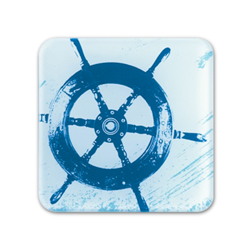 Glass Coaster - Ship's Wheel