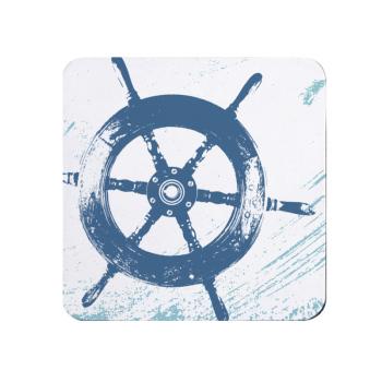 Blue and White Ship's Wheel Coaster - Nautical Style