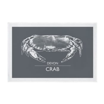 Cornwall Tea Towel - Devon Crab - Dark Grey