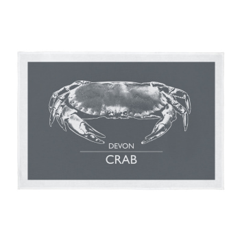 Devon Tea Towel - Devon Crab - Dark Grey