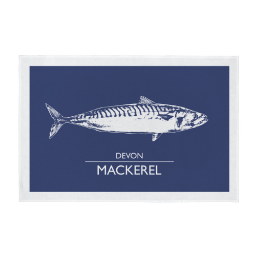 Cornwall Tea Towel - Devon Mackerel - Navy