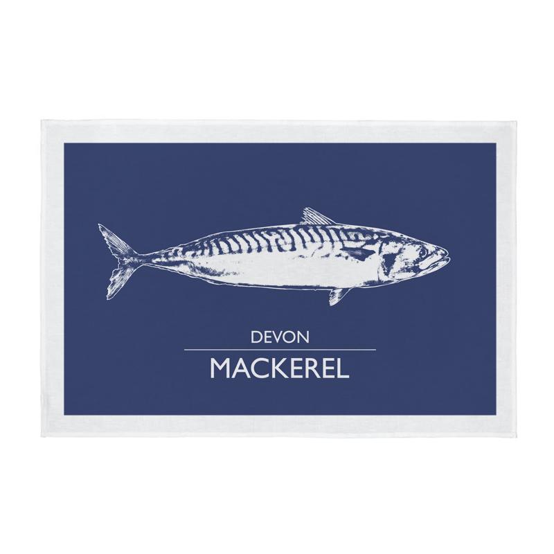 Cornwall Tea Towel - Devon Mackerel - Navy
