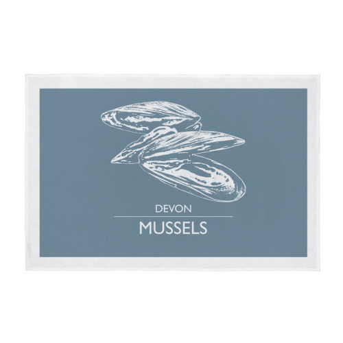 Cornwall Tea Towel - Devon Mussels - Light Grey
