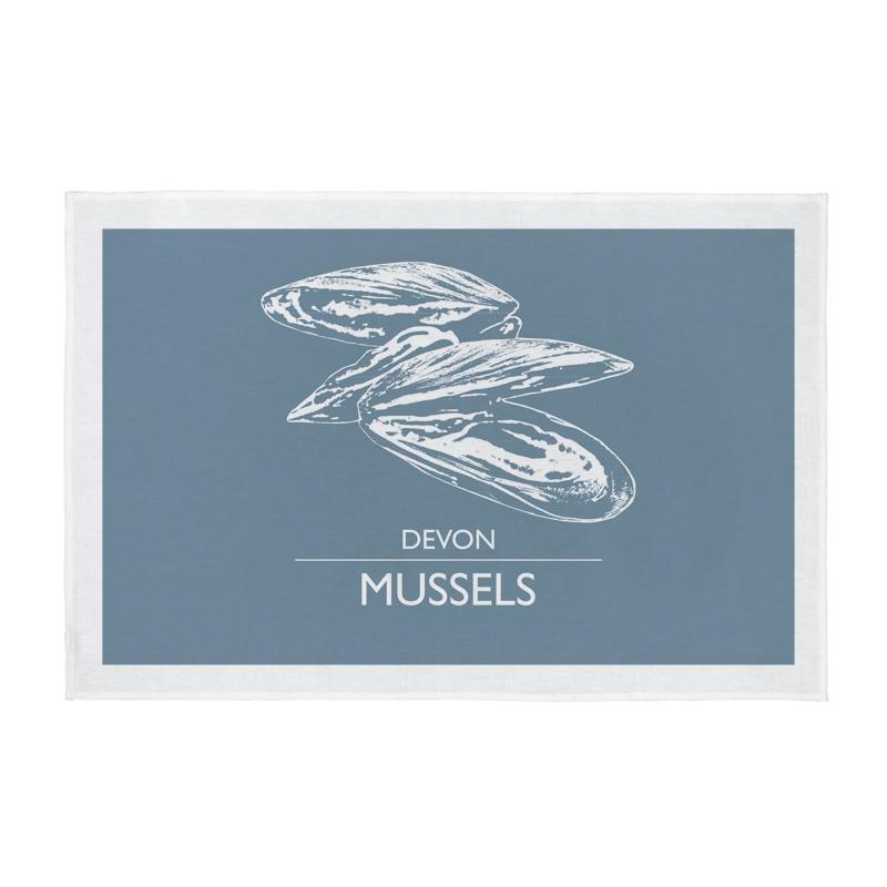 Cornwall Tea Towel - Devon Mussels - Light Grey