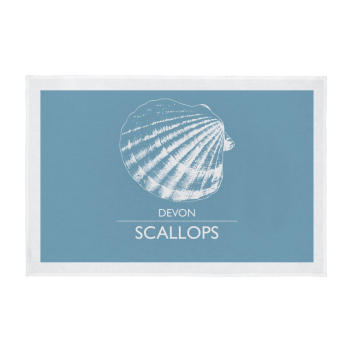 Devon Tea Towel - Devon Scallops - Light Blue