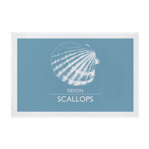 Cornwall Tea Towel - Devon Scallops - Light Blue