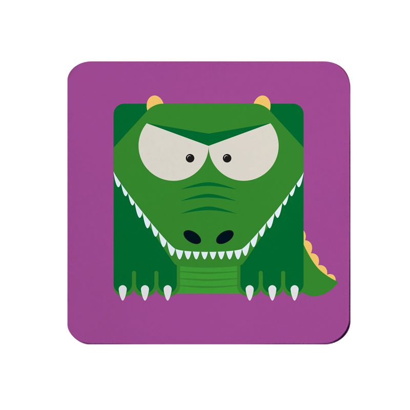 Square-Animal Design Coaster - Alligator