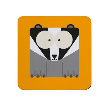 Square-Animal Design Coaster - Badger