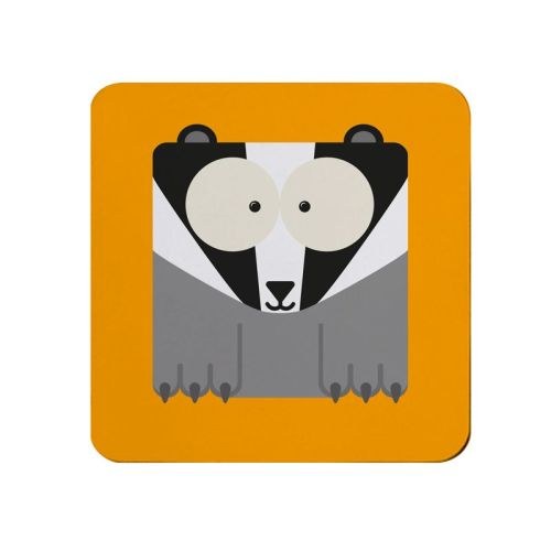 Square-Animal Design Coaster - Badger