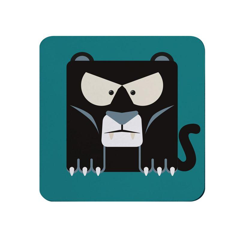 Square-Animal Design Coaster - Panther
