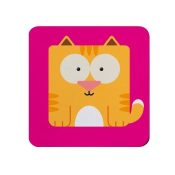 Square-Animal Design Coaster - Cat