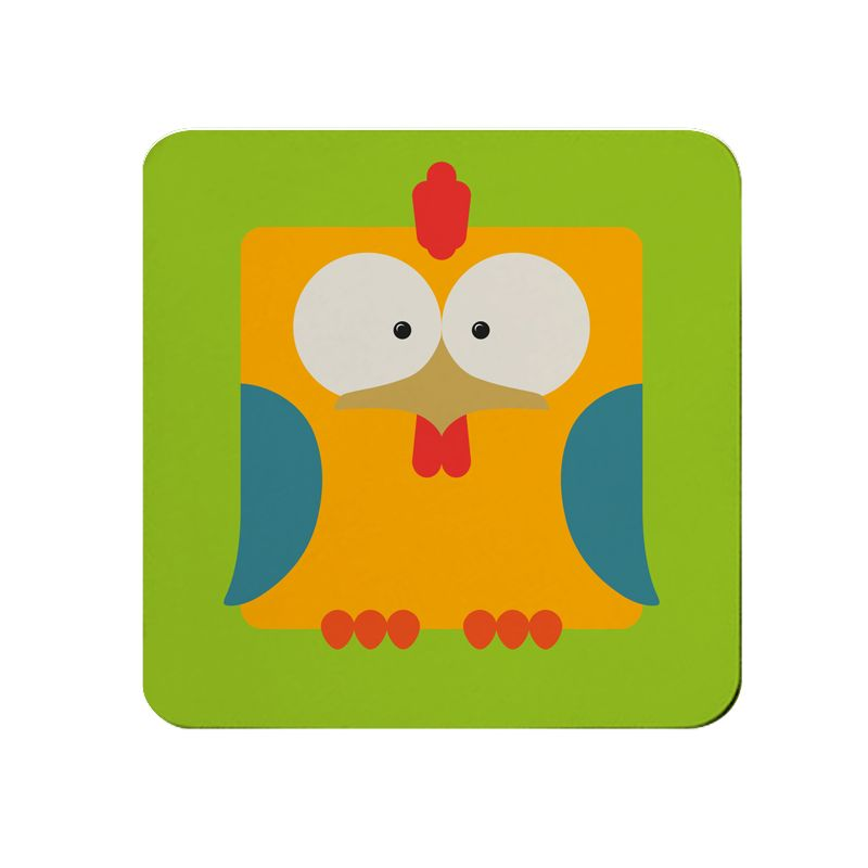 Square-Animal Design Coaster - Chicken
