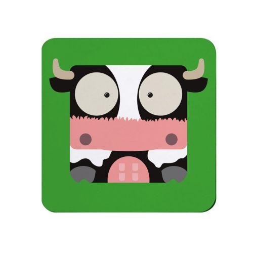 Square-Animal Design Coaster - Cow
