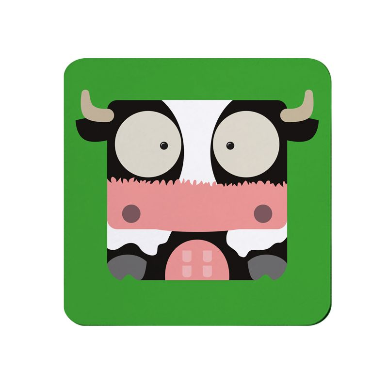 Square-Animal Design Coaster - Cow