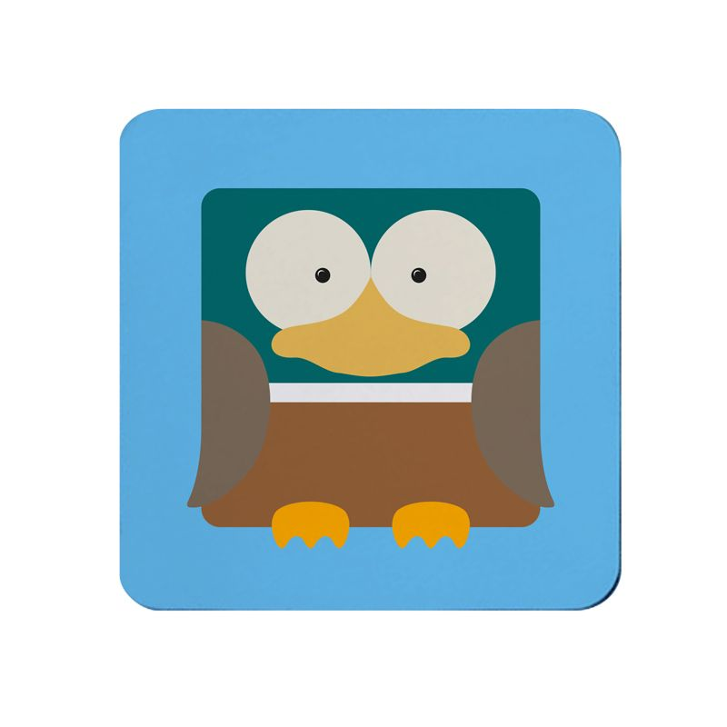 Square-Animal Design Coaster - Duck