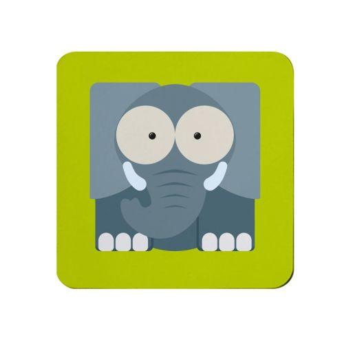 Square-Animal Design Coaster - Elephant