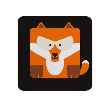 Square-Animal Design Coaster - Fox