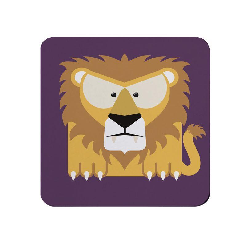 Square-Animal Design Coaster - Lion
