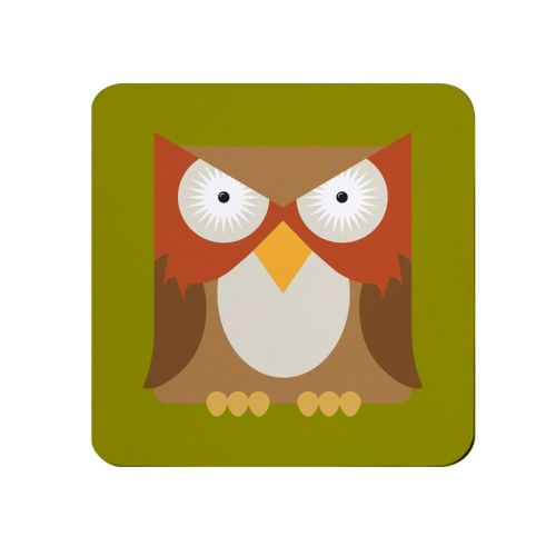 Square-Animal Design Coaster - Owl