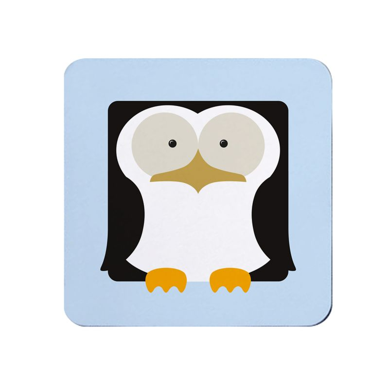 Square-Animal Design Coaster - Penguin