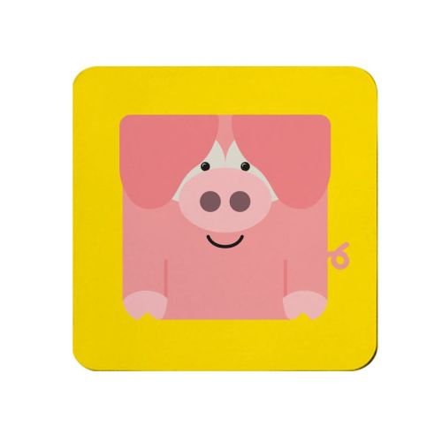Square-Animal Design Coaster - Pig