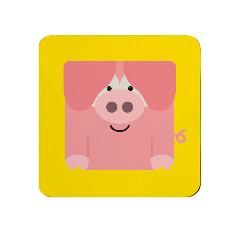 Square-Animal Design Coaster - Pig