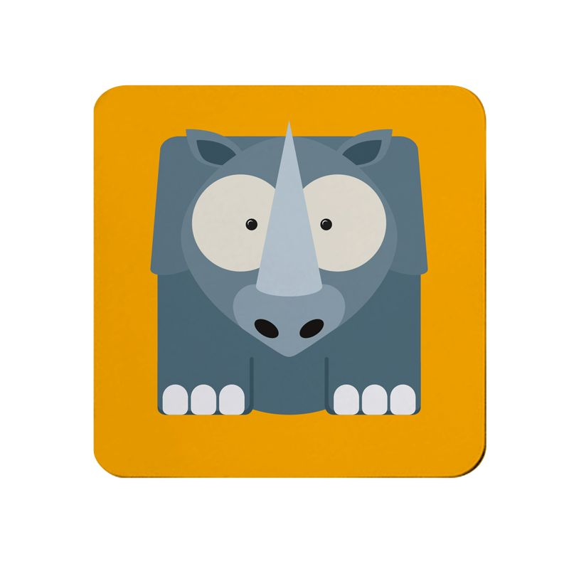 Square-Animal Design Coaster - Rhino