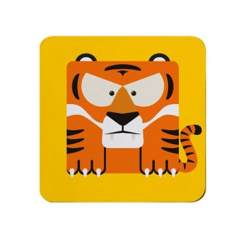 Square-Animal Design Coaster - Tiger