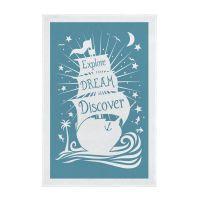 Explore Dream Discover Screen Printed Tea Towel - Teal