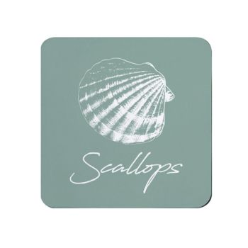 Scallops Coaster - Sage Melamine - Coastal Theme