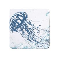 Blue and White Jellyfish Coaster - Nautical Style