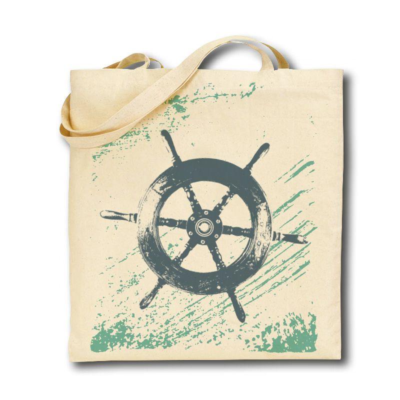 Cotton Tote Bag - Ship's Wheel