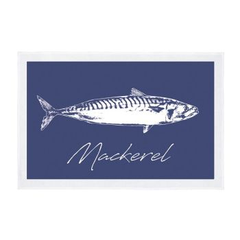 Tea Towel - Mackerel - Navy Blue